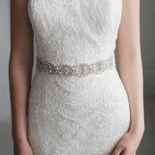 手工贴ka水钻新娘婚en水晶串珠珍珠伴娘舞会礼服装饰腰封