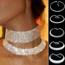欧美个ka饰品超华丽ol骨颈链多层满钻项圈女颈链新娘