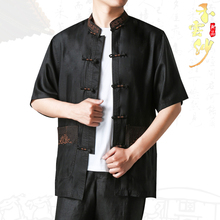 夏季中ka男式短袖真an桑蚕丝刺绣唐装上衣中式休闲香云纱衬衣
