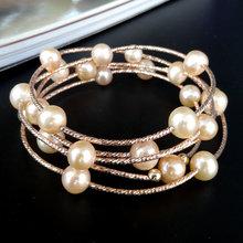 韩款首ka品天然珍珠an串S925银手镯多层圈情的节生日礼品