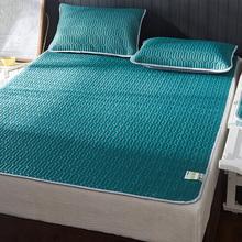 夏季乳ka凉席三件套an丝席1.8m床笠式可水洗折叠空调席软2m米