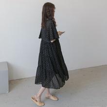 孕妇夏ka裙子波点显lf长裙 气质哺乳喂奶衣宽松连衣裙春夏季