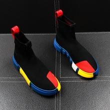 秋季新ka男士高帮鞋en织袜子鞋嘻哈潮流男鞋韩款青年短靴增高