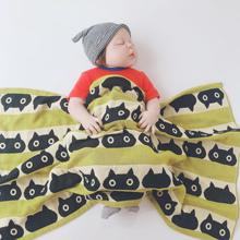 婴儿纯ka多层纱布浴en洗澡巾推车毯盖肚毯(小)盖被新生毛巾被柔