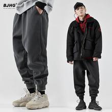BJHka冬休闲运动en潮牌日系宽松哈伦萝卜束脚加绒工装裤子