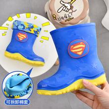 包邮男ka女童加绒保en(小)孩雨靴两用卡通冬季学生水鞋