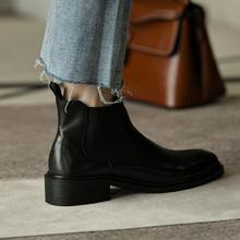 皮厚先ka 中跟黑色en踝靴女 秋季粗跟短靴女时尚真皮切尔西靴