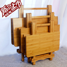 楠竹折ka桌便携(小)桌en正方形简约家用饭桌实木方桌圆桌学习桌