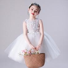 (小)女孩ka服婚礼宝宝la钢琴走秀白色演出服女童婚纱裙春夏新式