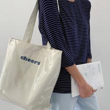 帆布单ka0ins风pa透明PVC防水大容量学生上课简约潮女士包袋