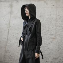 SIMkaLE BLal 春秋暗黑风韩款割边设计短式休闲女士连帽卫衣外套