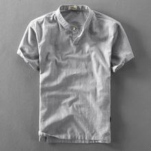 夏季立ka亚麻短袖衬er套头薄式透气休闲宽松棉麻衬衣半袖上衣