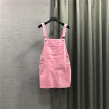 韩款牛ka背带短裙女tz龄显瘦(小)个子可盐可甜吊带粉色连衣裙子