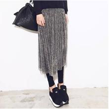 打底连kb裙灰色女士nu的裤子网纱一体裤裙假两件高腰时尚薄式