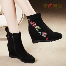 202kc秋冬棉鞋短ou跟高跟单靴女北京布鞋马丁靴复古民族绣花靴