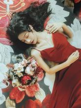 夏季新kc2021性kj过膝红色长裙复古连衣裙超仙吊带度假沙滩裙