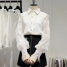 202ke春季新式蕾pc拼接灯笼袖雪纺衬衫女白衬衣甜美上衣潮A023