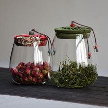 花布盖ke璃储物罐密ks用透明花茶罐干果零食罐大(小)号