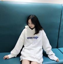 WASkeUP19Ahc秋冬五色纯棉基础logo连帽加绒宽松卫衣 情侣帽衫