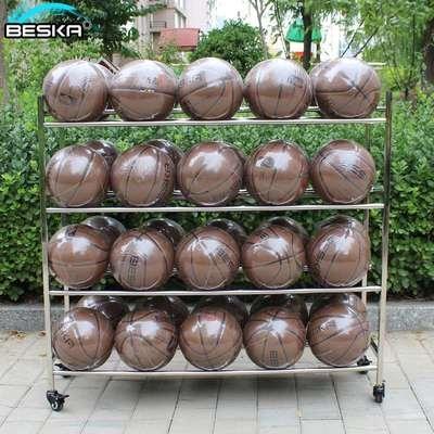 幼儿园ke球篮球收纳hc锈钢球车家用篮球架陈列架移动球架推车
