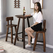 阳台(小)ke几桌椅网红na件套简约现代户外实木圆桌室外庭院休闲