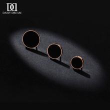 韩国简约(小)巧黑色钛钢ke7钉女圆形pu21新款潮镀玫瑰金气质耳饰