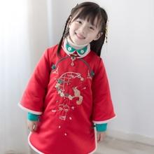 女童旗ke冬装加厚唐de宝宝装中国风棉袄汉服拜年服女童新年装