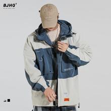 BJHke春连帽外套on2021新式街舞抽绳OVERSIZE情侣宽松工装夹克