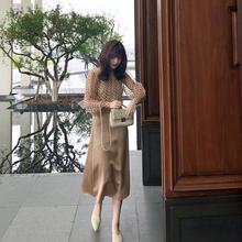 曾(小)咸ke绸缎半身裙on长式很仙的法国(小)众仙女裙chic温柔伞裙