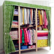 布衣柜ke易实木组装in纳挂衣橱加厚木质柜原木经济型双的大号