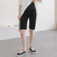 孕妇打ke裤薄式时尚in仔五分裤托腹中裤夏季百搭弹力孕妇短裤