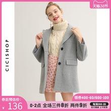翻领单ke扣中长式毛in女冬季新式甜美灰色(小)个子百搭大衣