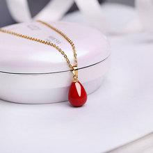 天然珍珠吊坠ke318K金in项链999纯银正品单颗红水滴个性时尚