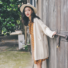 日系麻kf毛衣外套女dl式学院风V领宽松中长式针织衫开衫外搭