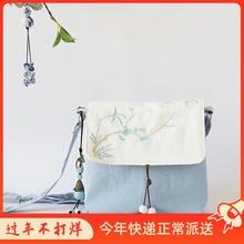 夏新式kf约森系文艺ca古风汉服帆布包包斜挎仙女布包(小)方包