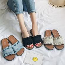 拖鞋女夏时尚外穿2020新kf10韩款百zq学生沙滩鞋平底一字拖