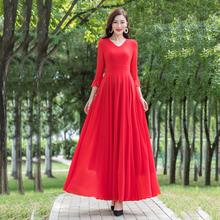 香衣丽kf2020春zq7分袖长式大摆连衣裙波西米亚渡假沙滩长裙
