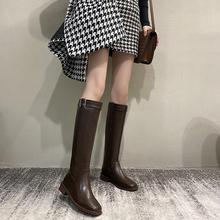 方头黑kf中跟长筒靴zq19新式不过膝靴子女冬显瘦粗跟高筒骑士靴