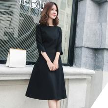 赫本风kf衣裙秋冬新zq风黑色中长裙中袖收腰显瘦打底(小)黑裙女