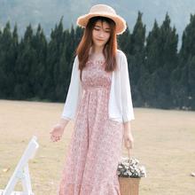 白色女kg女短式雪纺kl超仙披肩夏季配裙子外搭开衫薄式