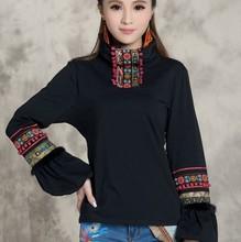 【天天kg价】SY民kl冬复古女装高领绣花t恤灯笼袖打底衫大码