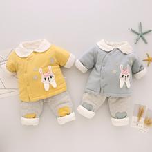 1岁棉kg棉裤婴儿冬zj儿秋冬式男女宝宝衣服0-4-8个月两件套装
