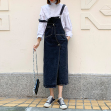 a字女kh吊带202wk春夏季新爆式chic法式背带长裙子