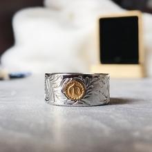 印第安日式潮流复古风ki7唐草纹图hw鸟点金钛钢男女宽戒指环