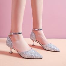 宝宝凉ki女童10岁hw女孩高跟鞋细跟(小)学生水晶鞋表演出舞台鞋