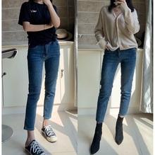 202ki新式秋冬显hw(小)直筒牛仔裤 八九分中腰弹力毛边(小)脚靴裤