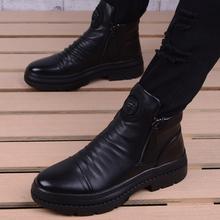 高帮皮鞋男士韩款潮流冬季ki9丁靴男短hw真皮厚底工装皮靴男
