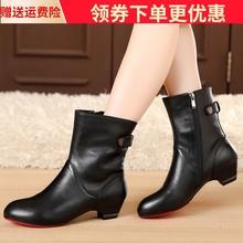 秋冬季ki鞋粗跟短靴mo单靴真皮靴子短筒靴大码中跟41加绒棉靴
