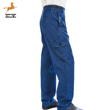 夏季薄ki多口袋牛仔mo男耐磨纯棉焊工宽松直筒裤子
