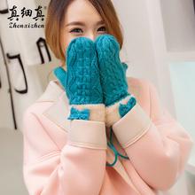 真细真ki女冬可爱韩mo棉针织加厚保暖毛线加绒全指骑车